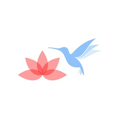 Abstract hummingbird with flower vector image vector image