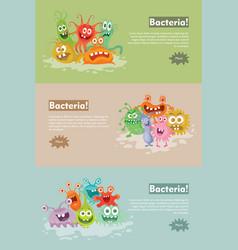 Bacteria flat cartoon web banner vector