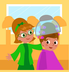 cartoon 60s hairdresser and woman vector image vector image