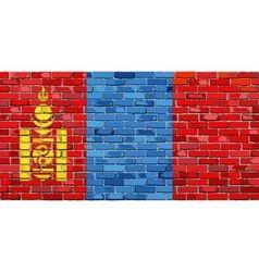 Flag of mongolia on a brick wall vector