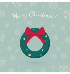 Christmas wreath garland on winter backdrop vector image