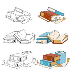 doodle hand drawn sketch books icons and coloring vector image vector image
