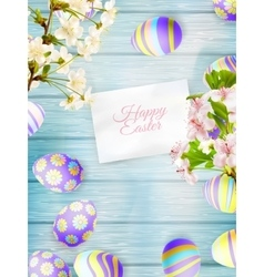 Easter eggs on a wooden background EPS 10 vector image