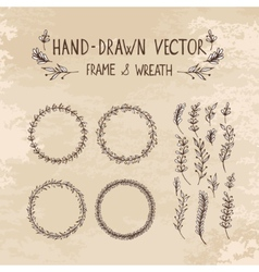 Hand drawn frame and wreath vector image