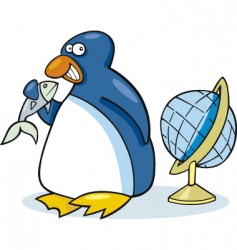 penguin with fish vector image vector image