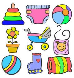 set of baby element set various doodles vector image vector image