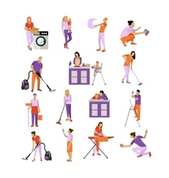 set of cleaning service workers People vector image vector image