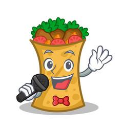 singing kebab wrap character cartoon vector image vector image