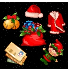 Christmas set of accessories clothes and objects vector image vector image