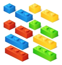 Construction toy cubes connector bricks 3d vector