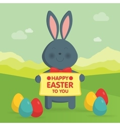 Cute Easter bunny in nature vector image