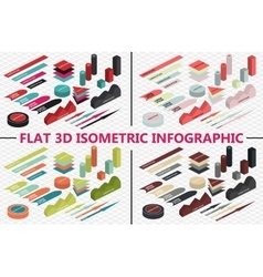 Flat 3d isometric infographic set vector image vector image