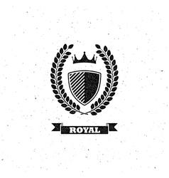 laurel wreath shield and crown vector image vector image