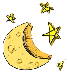Moon and stars weather icon vector image vector image
