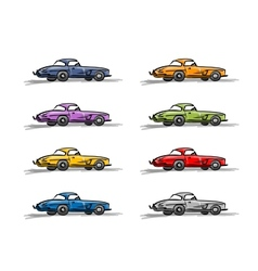 Retro sport cars sketch for your design vector image