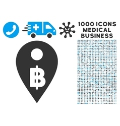 Thai baht map marker icon with 1000 medical vector