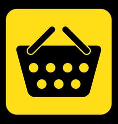 Yellow black sign - shopping basket icon vector