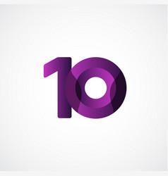 10 years anniversary celebrations purple template vector