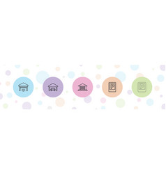 5 garage icons vector