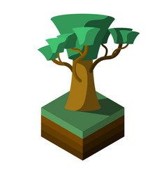Abstract tree on green grass isometric view vector