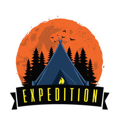 adventure night expedition campfire camping logo vector image