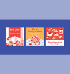 Advertise template with strawberry baking design vector