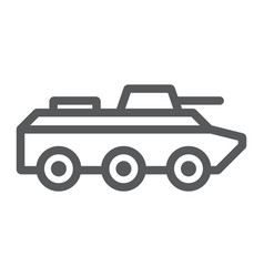 Amphibious vehicle line icon transport and army vector