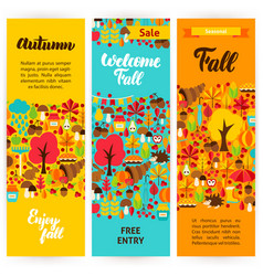 Autumn vertical flyers vector