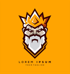 awesome bearded king logo design vector image