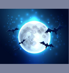 Bat silhouette on moon for halloween party vector