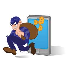 bitcoin thief vector image