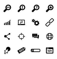 black seo icon set vector image