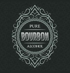 Bourbon pure alcohol label design template vector
