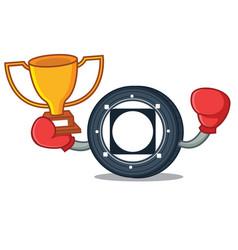 Boxing winner byteball bytes coin mascot cartoon vector