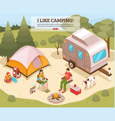 Camping barbecue isometric poster vector