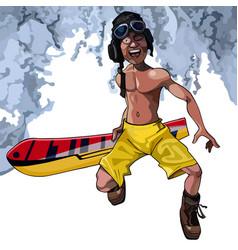 cartoon funny man walks with a snowboard vector image