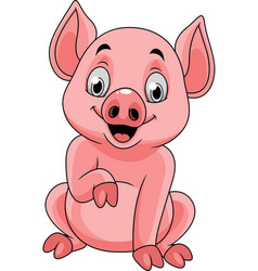 cartoon happy pig sitting vector image