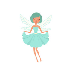 Cartoon smiling fairy girl in blue dress vector