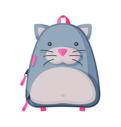 Cat shaped childish backpack front view school vector