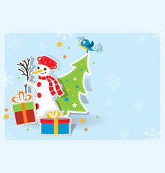 christmas greeting card on blue background vector image