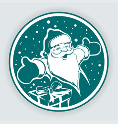 Christmas turquoise round sign with the silhouette vector