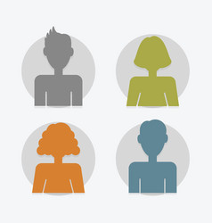 circle color silhouette male and female avatar set vector image