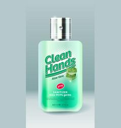 Clean hands label bottle spray transparent liquid vector