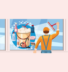 cleaning window banner horizontal cartoon style vector image