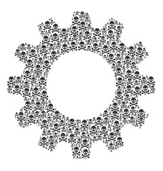 Cogwheel collage of death skull icons vector