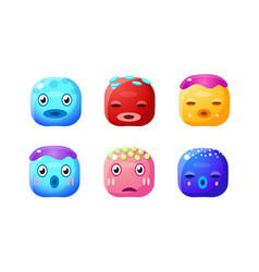 collection cute glossy buttons colorful cubes vector image