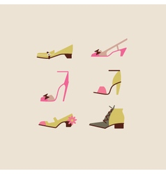Collection of woman shoes vector