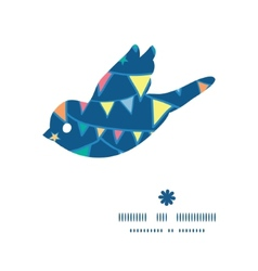 Colorful doodle bunting flags bird silhouette vector