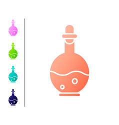 Coral glass bottle with magic elixir icon isolated vector