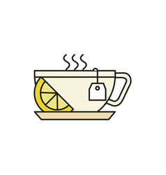 cup of hot lemon tea thin line icon vector image